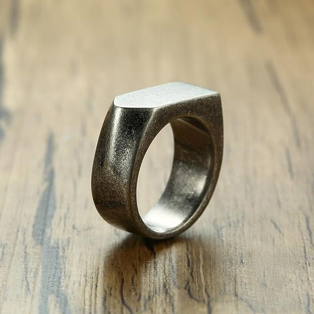 Unusual Silver Stainless Steel Men's Ring