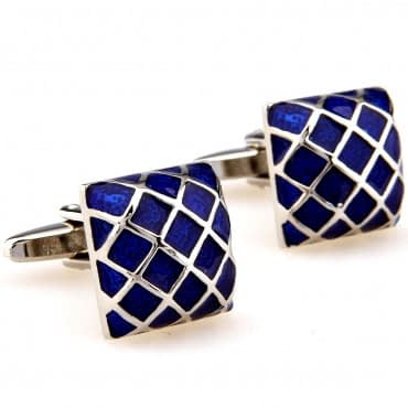 Men's Blue Geometric Style Cufflinks
