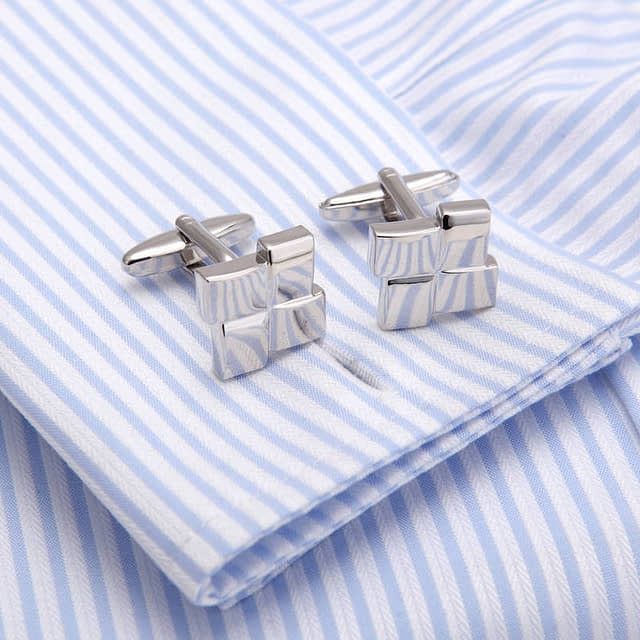 Square Men's Laser Engraved Cuff Links