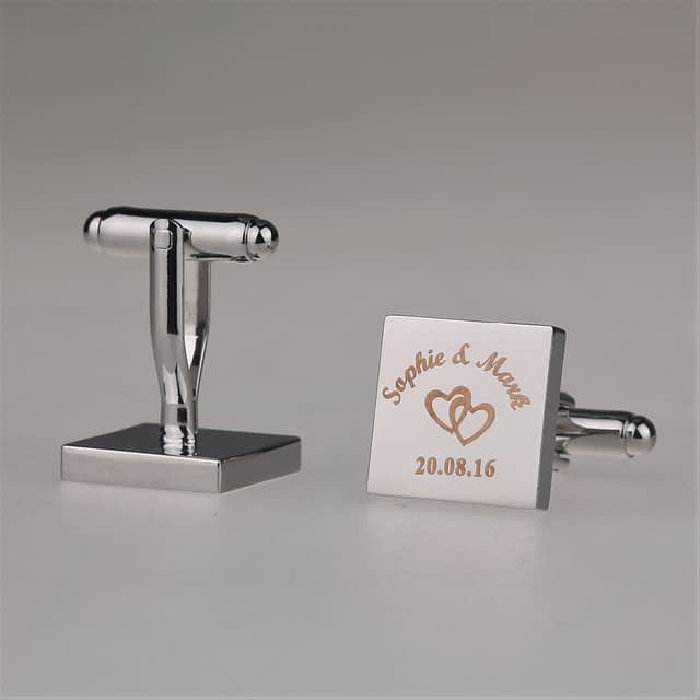 Personalized Engraved Square Wedding Cufflinks